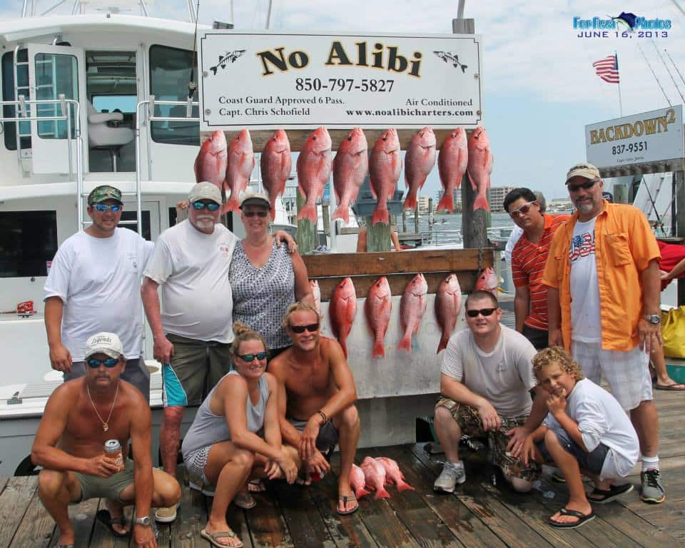 destin florida deep sea fishing charter boat No Alibi red snapper bonanza